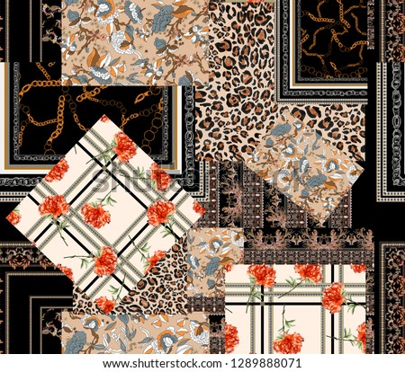 seamless patchwork  carnation flower , chain print, leopard skin, paisley. elegance pattern . square and diamonds