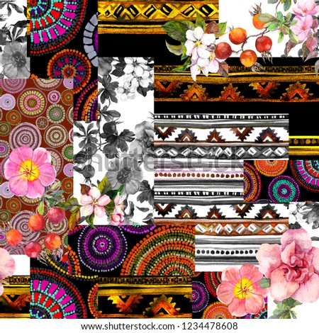 Seamless patchwork decorative pattern - mix of native oriental elements and flowers. Watercolor illustration of patch texture. Vintage decor with trendy decor