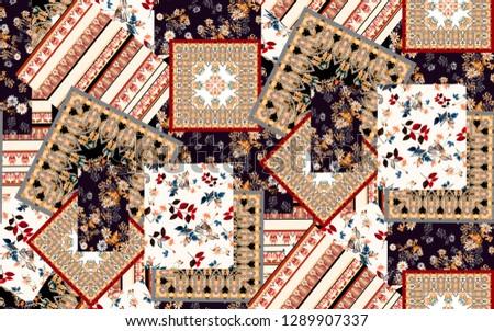 seamless patchwork paisley stripe, flower fabric print pattern.