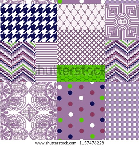 Seamless Patchwork Pattern for Textile Print for printed fabric design for Womenswear, underwear, activewear kidswear and menswear and Decorative Home Design, Wallpaper Print #1157476228