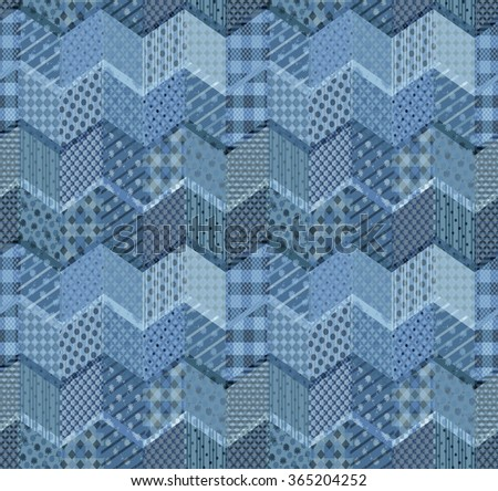 Seamless patchwork pattern with zigzags. Beautiful illustration in blue tones.  #365204252