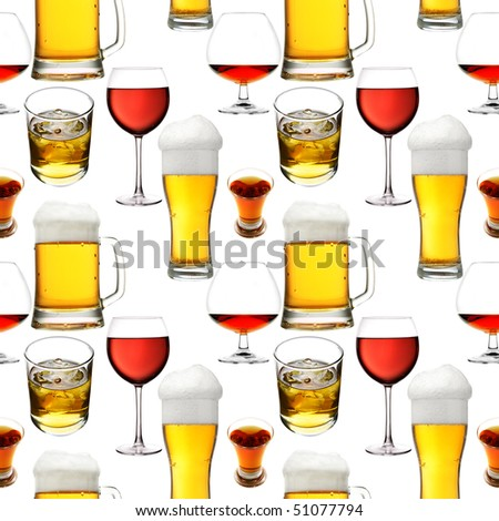 Seamless pattern - Alcohol  beverages over white background
