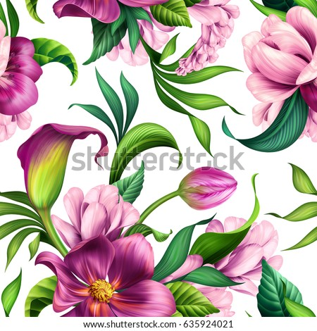seamless pattern, botanical illustration, beautiful tropical flowers, floral ornament, isolated on white background