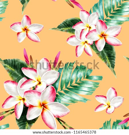 Seamless pattern botanical whit pink Frangipani flowers on yellow isolated  background. watercolor hand drawn.Illustration digital painting.