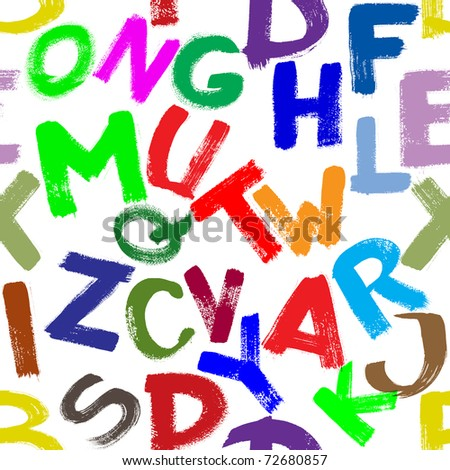 Seamless pattern - Colorful alphabet over white background