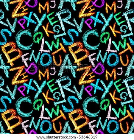 Seamless pattern - Crayon alphabet over white background