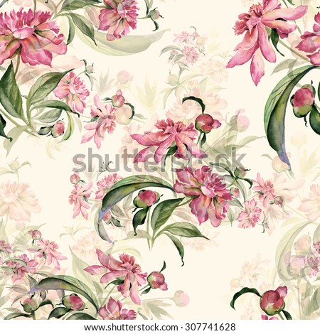 Seamless pattern delicate bouquet of peonies-AB. Beautiful pattern for decoration and design. Trendy print. Exquisite pattern for design of watercolor sketches of the flower. Toned.