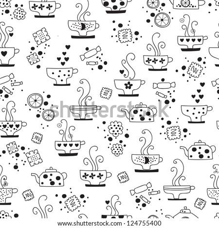 seamless pattern drinking of tea monochrome illustration