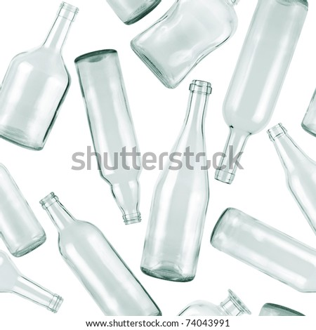 Seamless pattern. Empty bottles on white background.