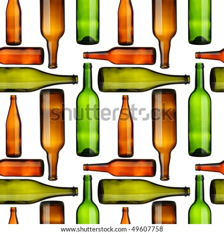 Seamless pattern - Empty bottles over white background
