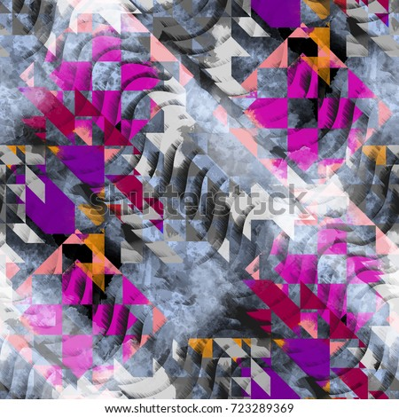 Shutterstock Seamless pattern ethnic design. Navajo background with tribal triangles and watercolor effect. Textile print for bed linen, jacket, package design, fabric and fashion concepts.
