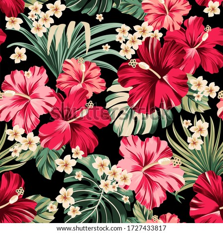 seamless pattern Exotic hawaiian tropical hibiscus flowers and palm on black background  artwork for fabrics, souvenirs, packaging, greeting cards and scrapbooking