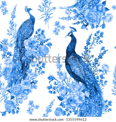 Seamless pattern for fabric in blue tones .Birds, peacocks and flowers .watercolor illustration Foto stock ©