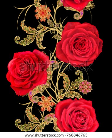 Seamless pattern. Golden textured curls. Brilliant lace, stylized flowers. Openwork weaving delicate, golden background, Paisley. Garland of bright red roses.