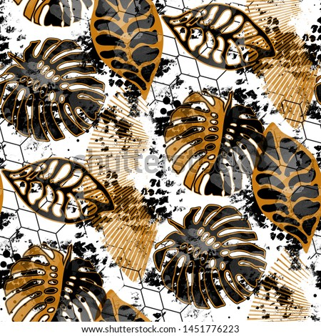 Seamless pattern grunge design. Tropic background with monstera leaves, grids and watercolor effect. Textile print for bed linen, jacket, package design, fabric and fashion concepts.