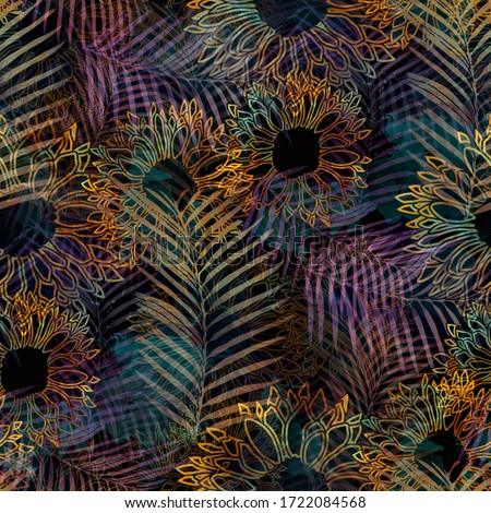 Seamless pattern grunge design. Tropical background with fern leaves, flowers and watercolor effect. Textile print for bed linen, jacket, package design, fabric and fashion concepts.