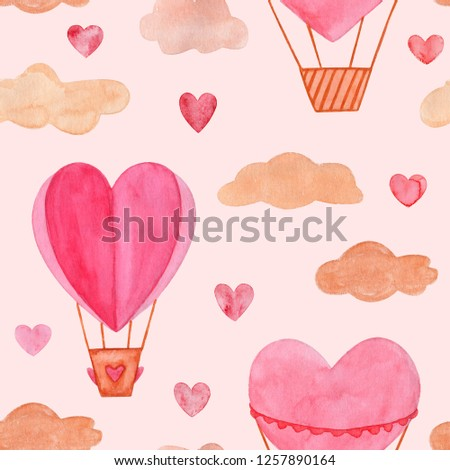 Seamless pattern. Hand drawn watercolor illustration, hot air balloon in the sky. Valentines day, aquarelle illustration. Pattern perfect for Valentine's day card, romantic post cards, gift wrapping. #1257890164