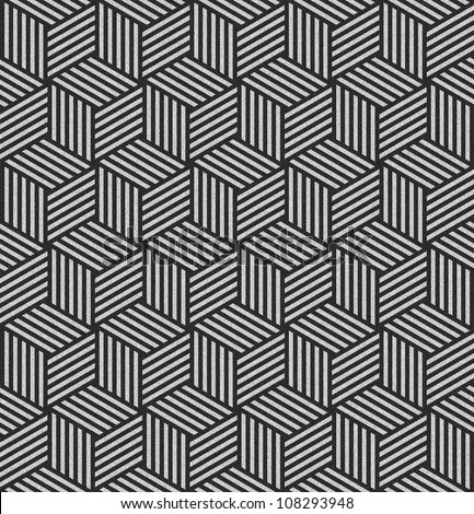 Seamless pattern in op art design. Geometric hexagons and diamonds texture. Abstract textured background. Illustration.