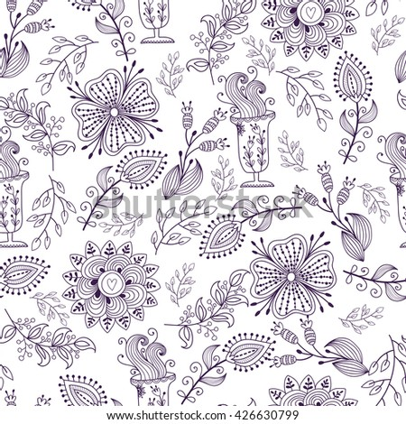 Seamless pattern in vintage style. Doodle flowers, leaves and grass retro design. Can be used for wallpaper, pattern fills, web page background, surface textures