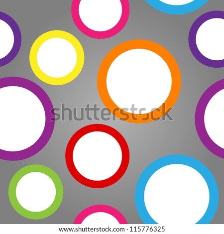 Seamless pattern made of cute and fun white circles with colorful borders over gradient grey background.