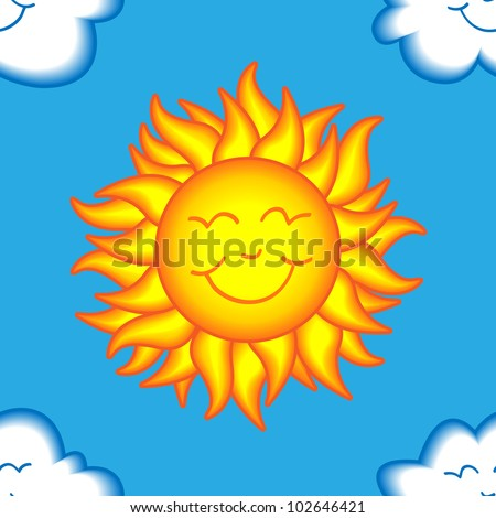 Seamless pattern made of happy sun face surrounded by cute smiling clouds over bright blue sky, perfect for kids fabric or wallpaper.