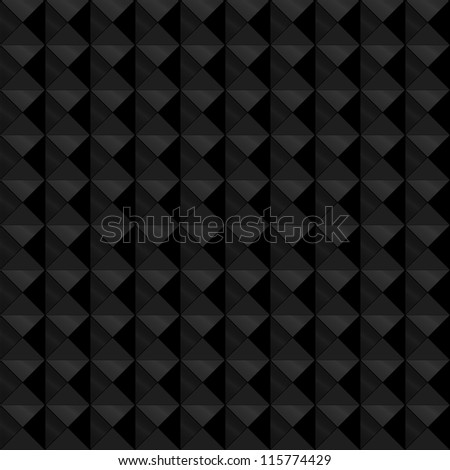 Seamless pattern made of relief or embossed geometric triangles in square formation, with the black and dark grey tones with metallic shine, giving it depth.