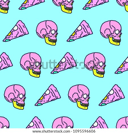 Seamless pattern. Minimal Pizza and Skull background. Use for t-shirt, greeting cards, wrapping paper, posters, fabric print. Fashion Hipster Sketch