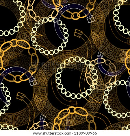 Seamless pattern mixed design. Creative background with belts, greek meanders, chains and watercolor effect. Textile print for bed linen, jacket, package design, fabric and fashion concepts.