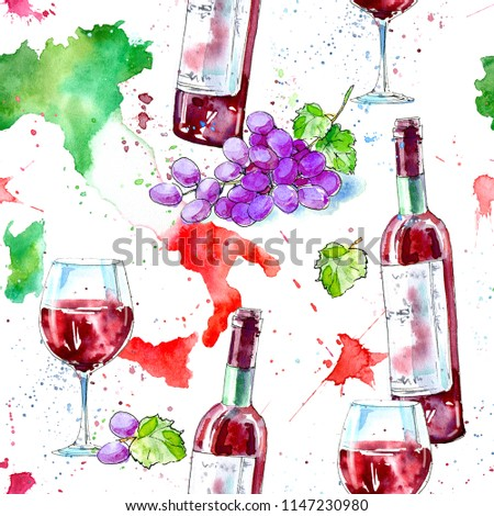 Seamless pattern of a bottle of red wine, glasses, map of Italy and grapes.Picture of a alcoholic drink.Beverage.Watercolor hand drawn illustration.White background.
