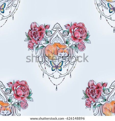 Seamless pattern of a sleeping fox in flowers on a white background.