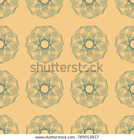 Seamless pattern of abstract polygonal broken green lines of figures on beige background raster illustration