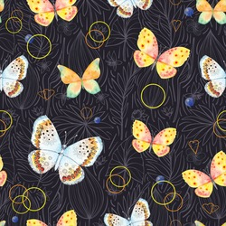 seamless pattern of beautiful butterflies on black background
