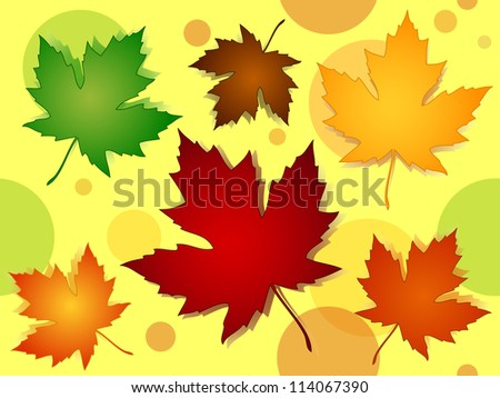 Seamless pattern of beautiful maple leaves in seasonal fall or autumn colors over yellow background with transparent dots or circles.