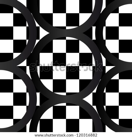 Seamless pattern of bold, graphic contrasting black and white checker board with dark circles or rings, gradient gives crooked effect, very dramatic, great for fabric, backgrounds and the likes.