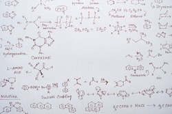 Seamless pattern of chemical structures, formula and equations with a space in the middle. Chemistry background, template design and educational concept.