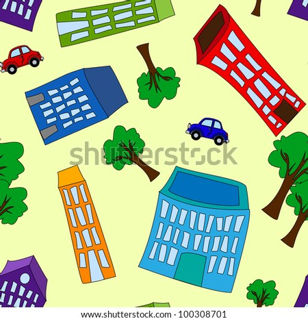 Seamless pattern of colorful crooked cartoon buildings, with trees and cars on light yellow background, fun cityscape wallpaper or background. - stock photo