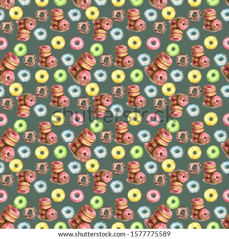 Seamless pattern of donuts, filled with pink, blue, green, chocolate and yellow icing and sprinkled with colorful splashes on a gray background