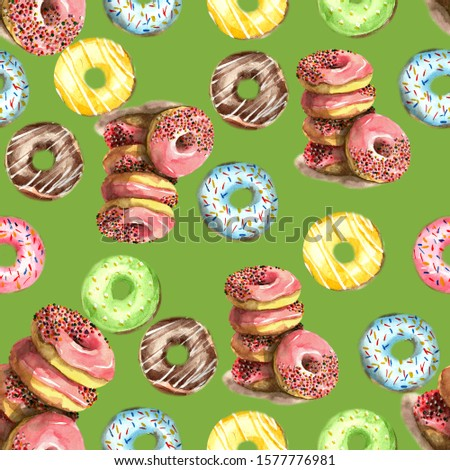 Seamless pattern of donuts, filled with pink, blue, green, chocolate and yellow icing and sprinkled with colorful splashes on a green background