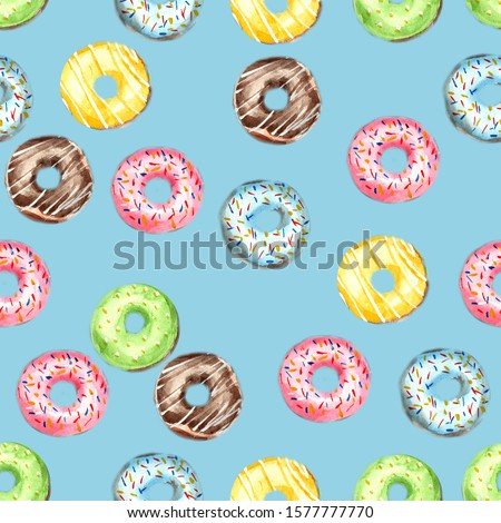 Seamless pattern of donuts, filled with pink, blue, green, chocolate and yellow icing and sprinkled with colorful splashes on a blue background