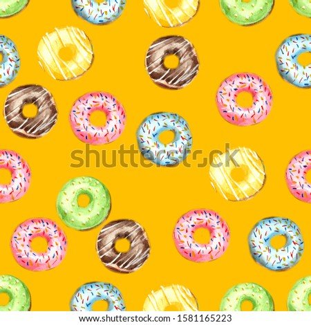 Seamless pattern of donuts, filled with pink, blue, green, chocolate and yellow icing and sprinkled with colorful splashes on a yellow background