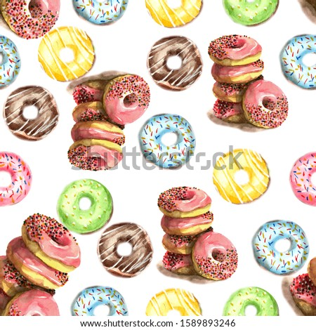 Seamless pattern of donuts, filled with pink, blue, green, chocolate and yellow icing and sprinkled with colorful splashes on a white background