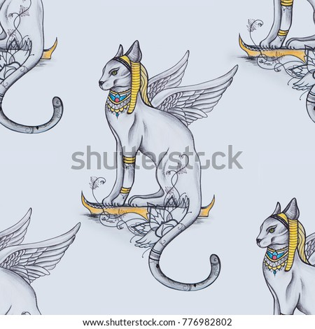 Seamless pattern of Egyptian cat on white background.