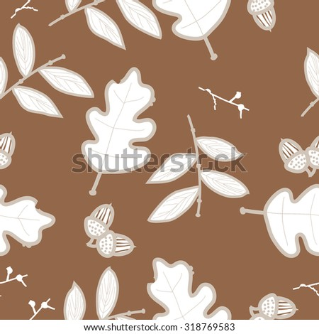 Seamless   pattern of   floral motif,  acorn, branches, ellipses,leaves, autumn theme, doodles. Hand drawn.