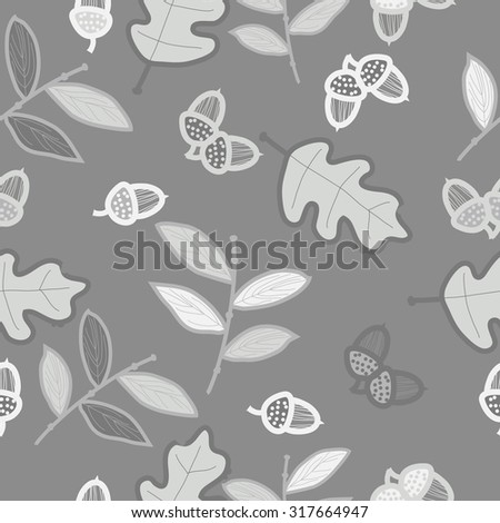 Seamless   pattern of   floral motif, ellipses, leaves, oak, autumn theme, doodles. Hand drawn.