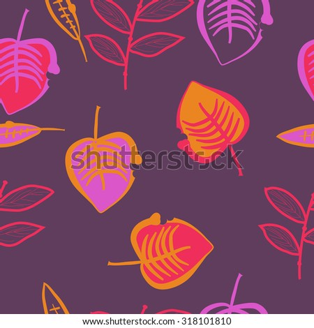 Seamless   pattern of   floral motif,  leaves,branches,  autumn theme, doodles. Hand drawn.