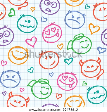 seamless pattern of hand drawn colorful smiles