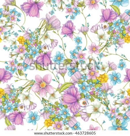 Seamless pattern of hand drawn wildflowers