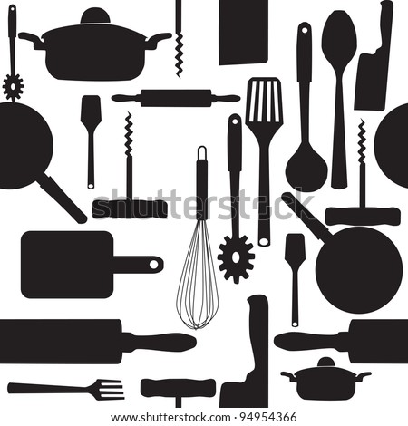 seamless pattern of kitchen tools. Raster version.