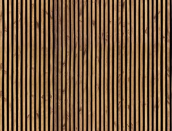 Seamless pattern of modern wall paneling with vertical wooden slats for background. Raw material of natural brown wood lath.