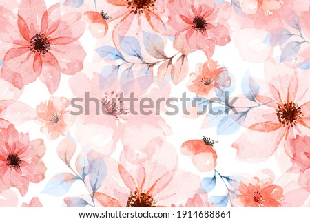 Seamless pattern of orange flowers drawn with watercolor.For the design of the wallpaper or fabric, vintage style.Blooming flower painting for summer.Botany background.
